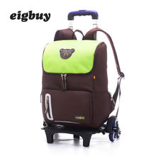 цены Grade 2-6 Kids Trolley School bag Luggage Backpacks Boys Girls Backpack Latest Removable Children School Bags 2/6 Wheels Stairs