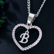 IF ME Trendy Crystal Heart Pendant Letter B Necklace for Women Silver Rose Gold Color Charms