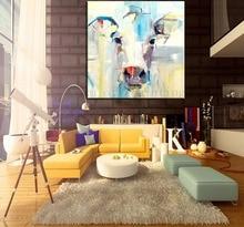 עיצוב אמנות קיר באיכות גבוהה יד מצוירת מודרני מופשטת בעלי החיים פרה שור עבודת יד תמונת בד ציור שמן סכין צבעים