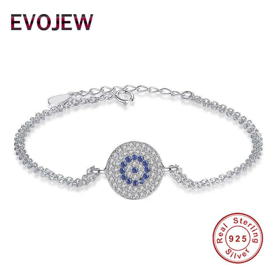 EVOJEW Sparking 925 Sterling Silver Round Shape Women