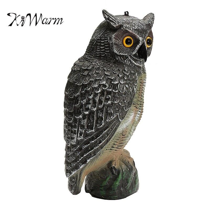 KiWarm Hot Selling Owl Decoy Figurines Statues Garden Protection Pest Repellent Bird Scarer Sculptures Home Garden Craft 40x19cm