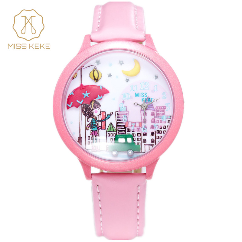 MISS KEKE Cute Clay 3D Mini World City Young Pretty Girl Kids Children Watch Relogio Feminino  Women Leather Wristwatches 103