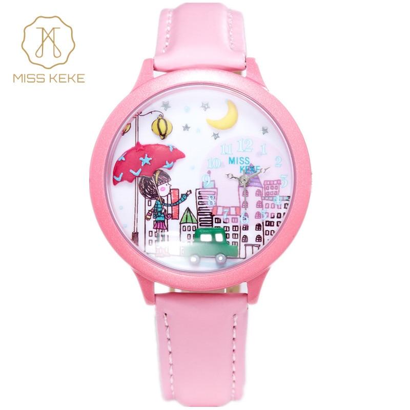 Prix pour Miss keke mignon argile 3d mini monde ville jeune jolie fille enfants enfants montre relogio feminino femmes en cuir montres 103