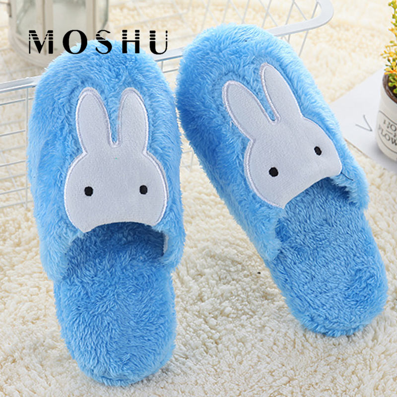 Women Home Cotton Slippers Men Cute Rabbit Prints Indoor Soft Slippers Winter Non Slip Couple Plush Warm Shoes Zapatillas Mujer 5 пар носков 1 мес 3 лет