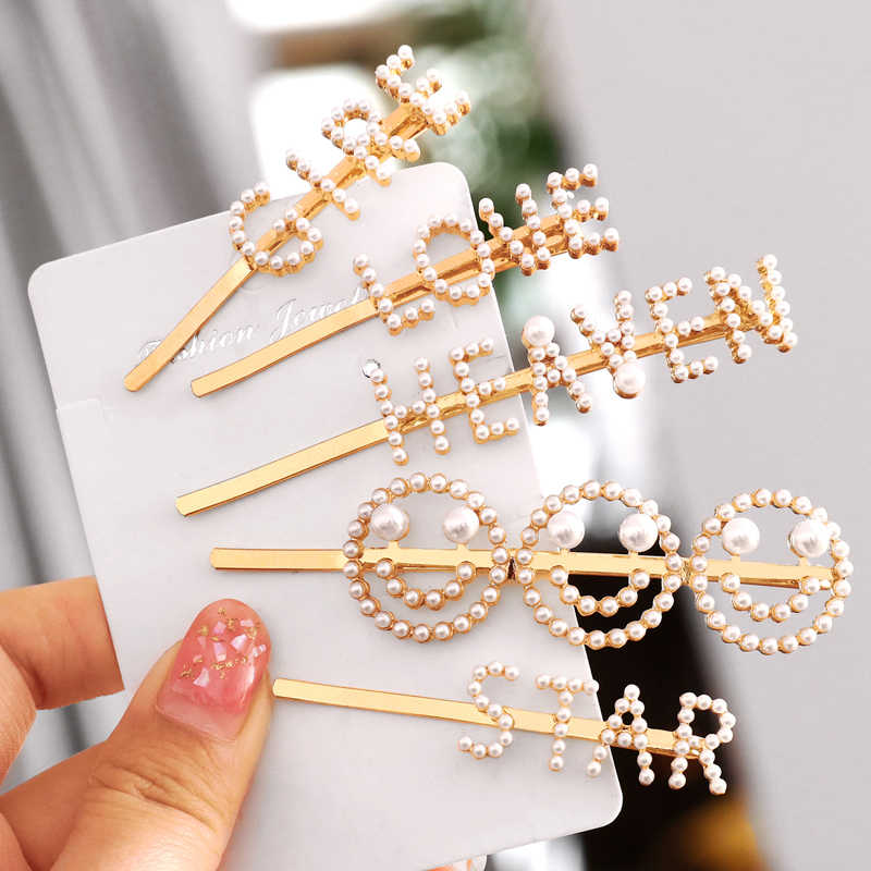 ZOSHI Trendy Simulated Pearls Hair Clips Letter Face Hair Jewelry Cute Wedding Elegant Hair Pins for Women Hair Bobby Pins