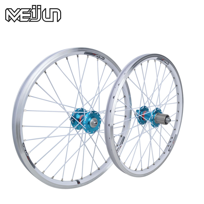 MEIJUN small wheel folding bike four wheels Peilin 20-inch alloy wheels quick release V brake disc wheel hub ldcnc wheel set bya412 upgrade wheels set folding bike 14 inch lightest wheels lighter than mialo wheels
