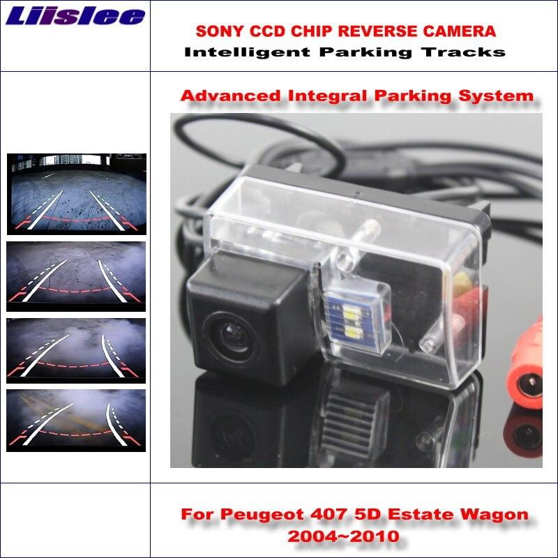 Liislee caméra arrière de recul intelligente pour Peugeot 407 5D break Wagon 2004 ~ 2010 vue arrière sauvegarde piste de guidage dynamique