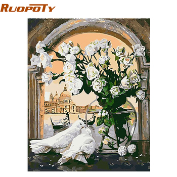 RUOPOTY diy frame White Pigeons DIY Painting By Numbers Modern Abstract Oil Painting Home Decor For Living Room Wall  40x50cm