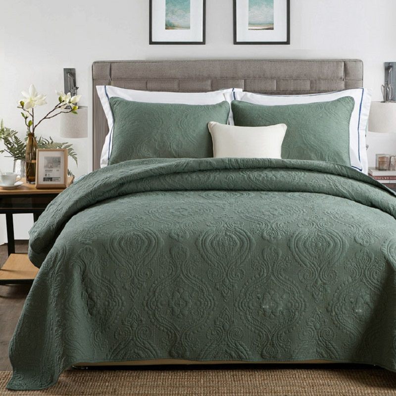 CHAUSUB Plain Cotton Quilt Set 3pcs Solid Embroidered Bedspread Quilted <font><b>Bed</b></font> Cover Sheets Blanket KING <font><b>Size</b></font> Quilts Coverlet Sets