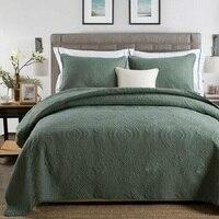 CHAUSUB jednobarwna bawełna zestaw kołder 3 sztuk stałe haftowane narzuta pikowana narzuta koc duży rozmiar kołdry zestawy