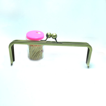 9 x 3 inches (22.5 x 7.5 cm) - Middle Ball Antique Bronze Clutch Frame without Chain Loops - 10 Pieces