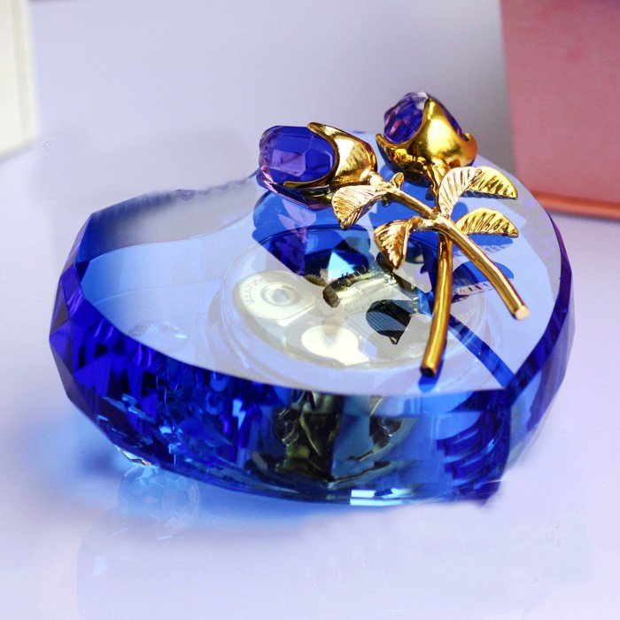 Heart Shaped Music Box Rose Music Box Crystal Birthday Gift For