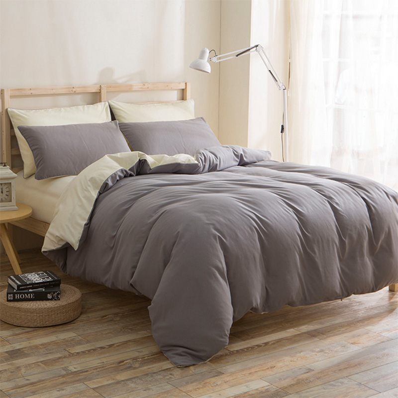 Twin Full Queen King Bedding Set Solid Color Double Side