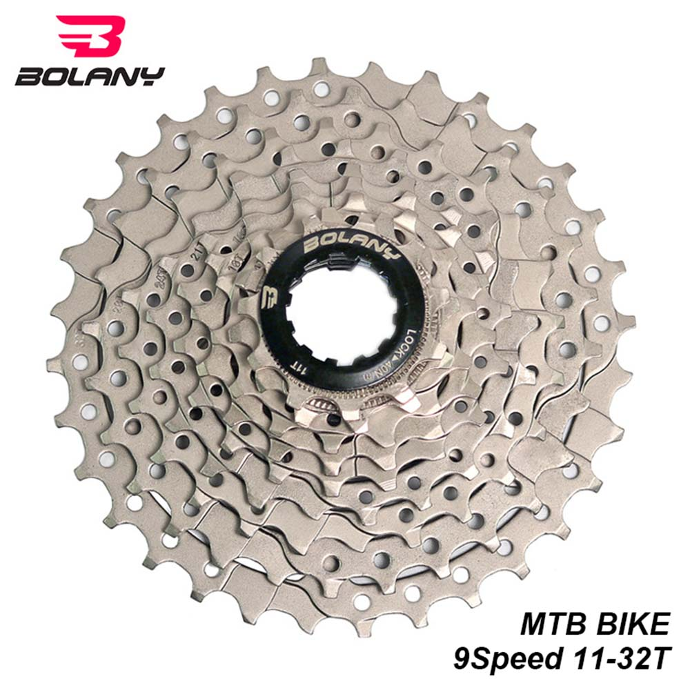 BOLANY MTB 9 Speed Cassette 11-42T Mountain Bike Freewheel Cogs Gold+Black Plate