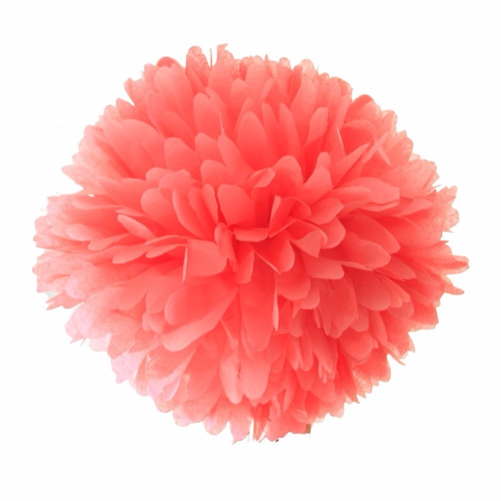 10 Pieces Per Lot Watermelon Red Coral Tissue Paper Pom Poms Flowers