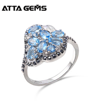 Natural Blue Topaz Sterling Silver Rings for Women Wedding Engagement S925 Rings Natural Black Spinel Faced Stone Fine Jewerly