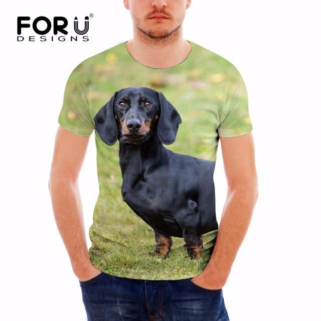 833bbfd8 FORUDESIGNS Cool Dachshund Dog Mens T Shirt Summer Elastic Short Sleeve Tee  Shirt for Male Designer 3D Animal Printing Top Tees