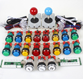2 Player Classic USB Encoder to PC 4 - 8 Ways Joystick + Full Colors LED Illuminated Buttons for Arcade Video Game Console Stick
