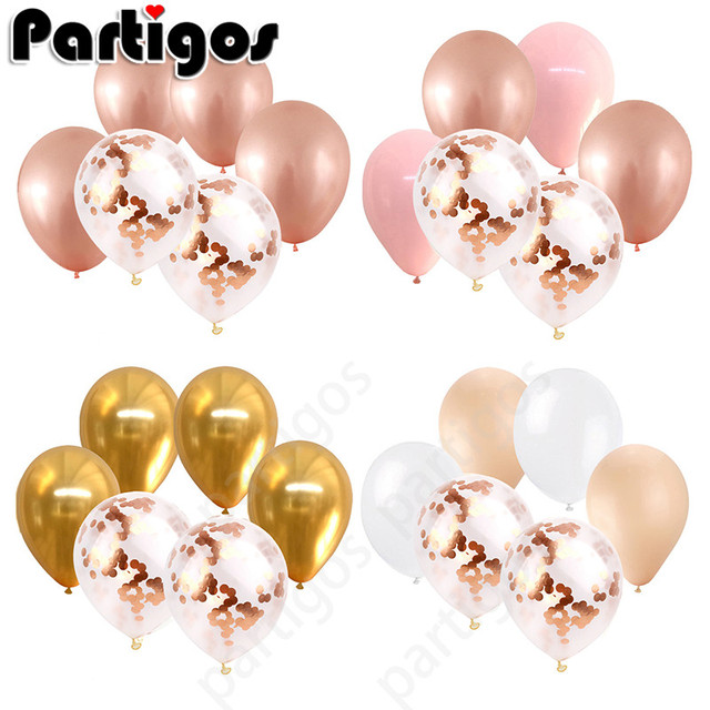 12pcs 12inch Rose Gold confetti balloons Champagne Gold latex balloons Birthday Wedding Party Decoration Baby Shower Supplies