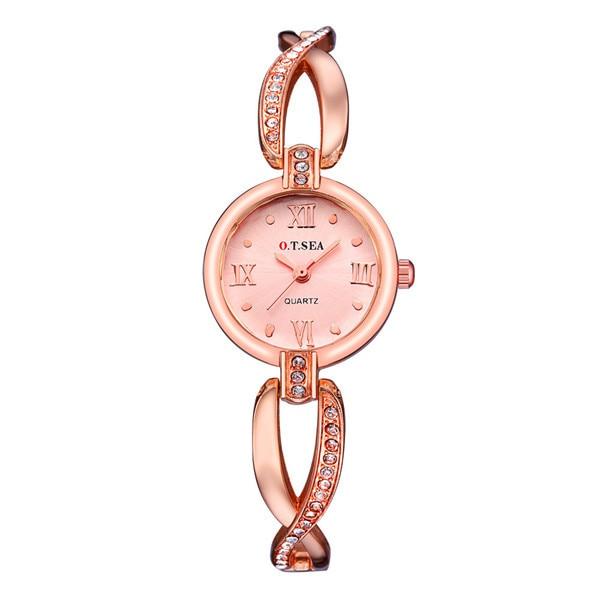cb265435912 Novo Luxo O. t. MAR Marca Ouro Rosa Pulseira Relógios Das Mulheres Das Senhoras  Vestido De Cristal de Quartzo Relógios de Pulso Relojes Mujer OTS064R  11