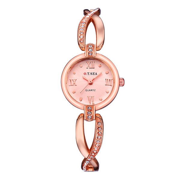New Luxury O.T.SEA Brand Rose Gold Bracelet Watches Women Ladies Crystal Dress Q