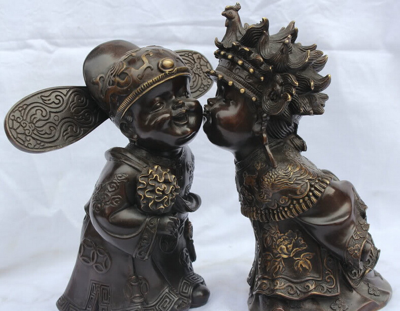 S1986 Lucky China Bronze Wedding Decorate Chinese Style Bride Groom In Kissing Statue D0318