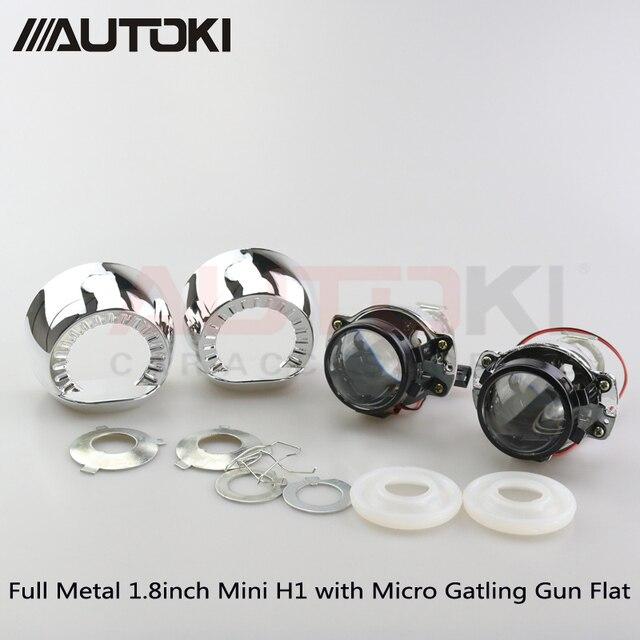 Cheap Free Shipping 2pcs/lot Autoki LHD/RHD 1.8/2.0inch H1 Mini Bi-xenon Projector Lens+Shroud for car Headlights H4 H7 9005 9006