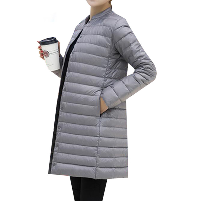 Autumn Winter Women Ultra Light   Down   Jacket New Slim Thin White Duck Long   Down   Parka   Coat   Female Solid Portable Overcoat AB648