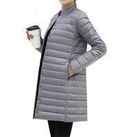 Autumn Winter Women Ultra Light Down Jacket New Slim Thin White Duck Long Down Parka Coat