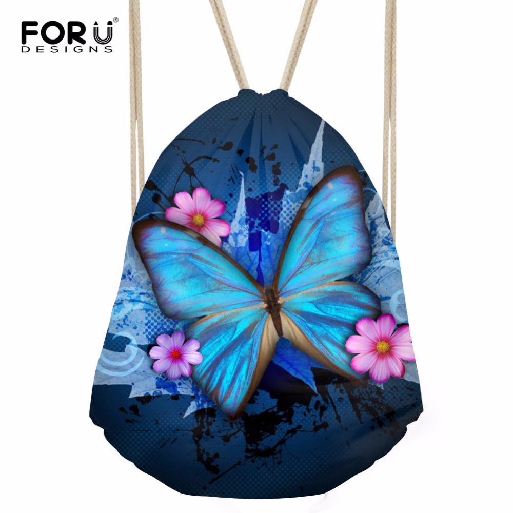 FORUDESIGNS Fitness Yoga Sports Women Backpack Small Drawstring Bag 3D Butterfly Printed Female Travel Beach Storage Bags Girls