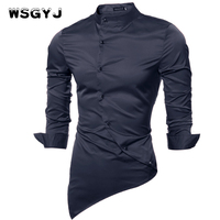 WSGYJ Men Shirt Luxury Brand 2017 Male Long Sleeve Shirts Casual Mens Single Breasted Slim Fit