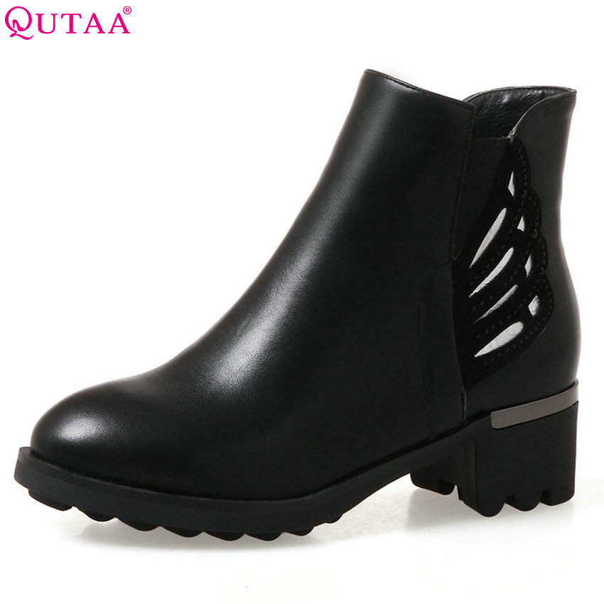 QUTAA 2018 Women Ankle Boots Pu Leather Spring and Autumn Square Heel Round Toe Zipper Deisgn Women Motorcycle Boots Size 34-43 vinlle women boot square low heel pu leather rivets zipper solid ankle boots western style round lady motorcycle boot size 34 43