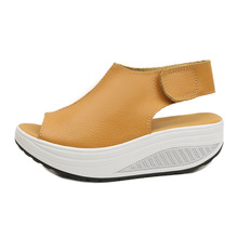 New rocking shoes Women summer sandals thick bottom slope with muffins waterproof platform fish mouth large size