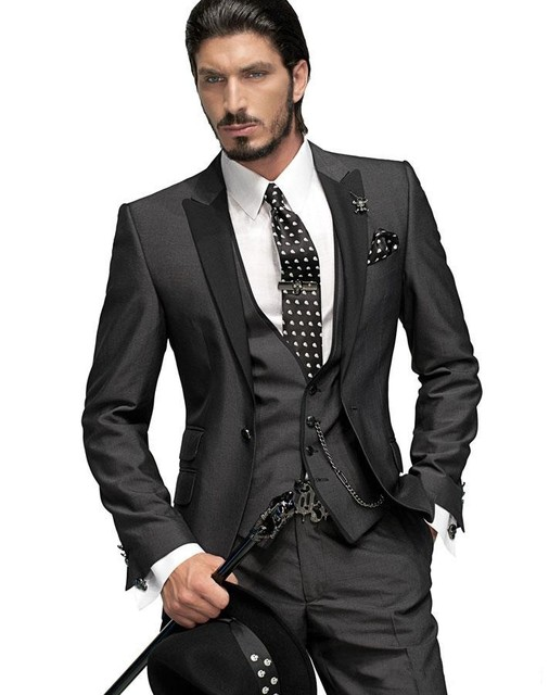 Cheap Groom Tuxedos Hot selling Charcoal One button Black Peak Lapel Groom Tuxedos Groomsmen Men Wedding Suits Prom
