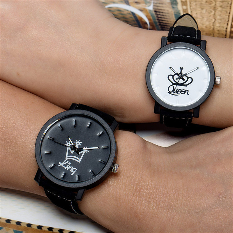 King Queen Leather Watches Women Lovers Quartz Watch Men Brand Luxury Wristwatch Female Male Quartz Couples Ladies Clock Hours