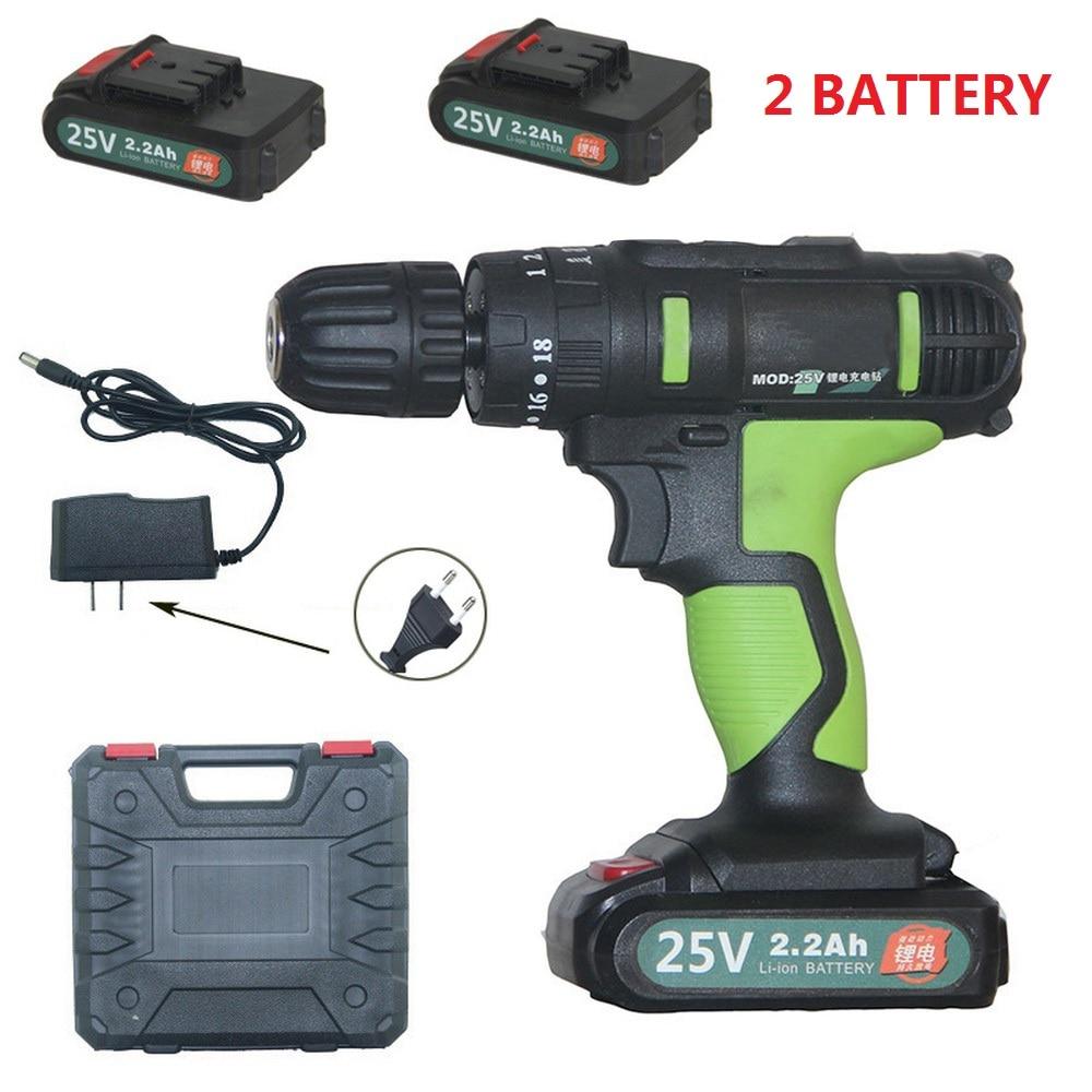 25 в электрическая отвертка литиевая батарея аккумуляторная дрель перезаряжаемая 2 батареи беспроводной сверлильный шуруповерт электроинс...