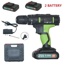 25 V Electric Screwdriver Lithium Battery Cordless Drill Rechargeable 2 Batteries Wireless Drilling Screwdriver Power Tools hilda 16 8v electric screwdriver lithium battery 2 electric drill furadeira cordless screwdriver power tools with drill bit case