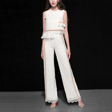 Seifrmann New Summer Women Suits Runway Fashion Designer Ruffles Hollow Out Tops and Floral Embroidery Long Pants 2 Pieces Set