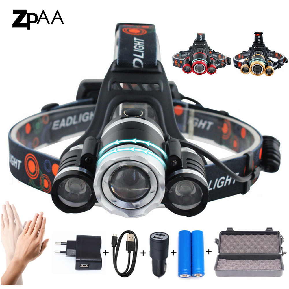ZPAA Rotate Focus Induction Headlight IR Sensor Head Lamp Rechargeable Lantern Lamp LED XML T6 Headlamp Flashlight Head Torch z20 led headlight headlamp sensor head lamp 4pcs xml t6