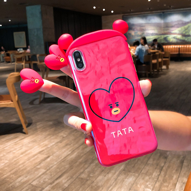 Mr.orange For iPhone XR Cute 3D Cony rabbit bear Ryan phone Cases For iphone XS Max X 8 7 6 Plus Tata / Apeach soft back cover