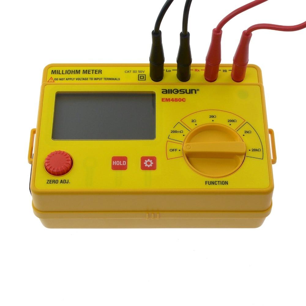 모든 태양 노란색 밀리 옴 미터 LCD 0.1 메터-20 천개 6 Postions 정확한 넓은 측정 범위 저항 미터 EM480C