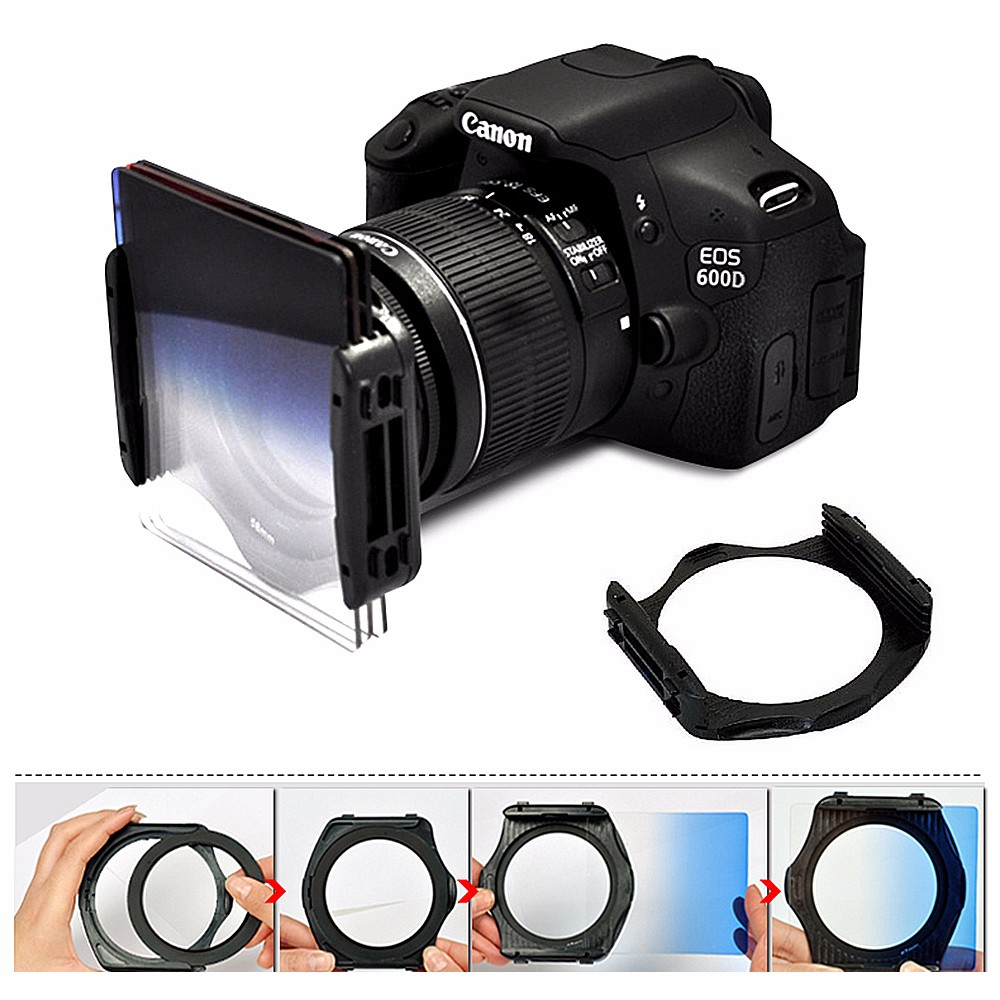 DSLR Camera Square Lens Filters Kit 10 in1 Full ND Graduated Blue Yellow Grey Orange with Holder Ring Adapter for photography 4