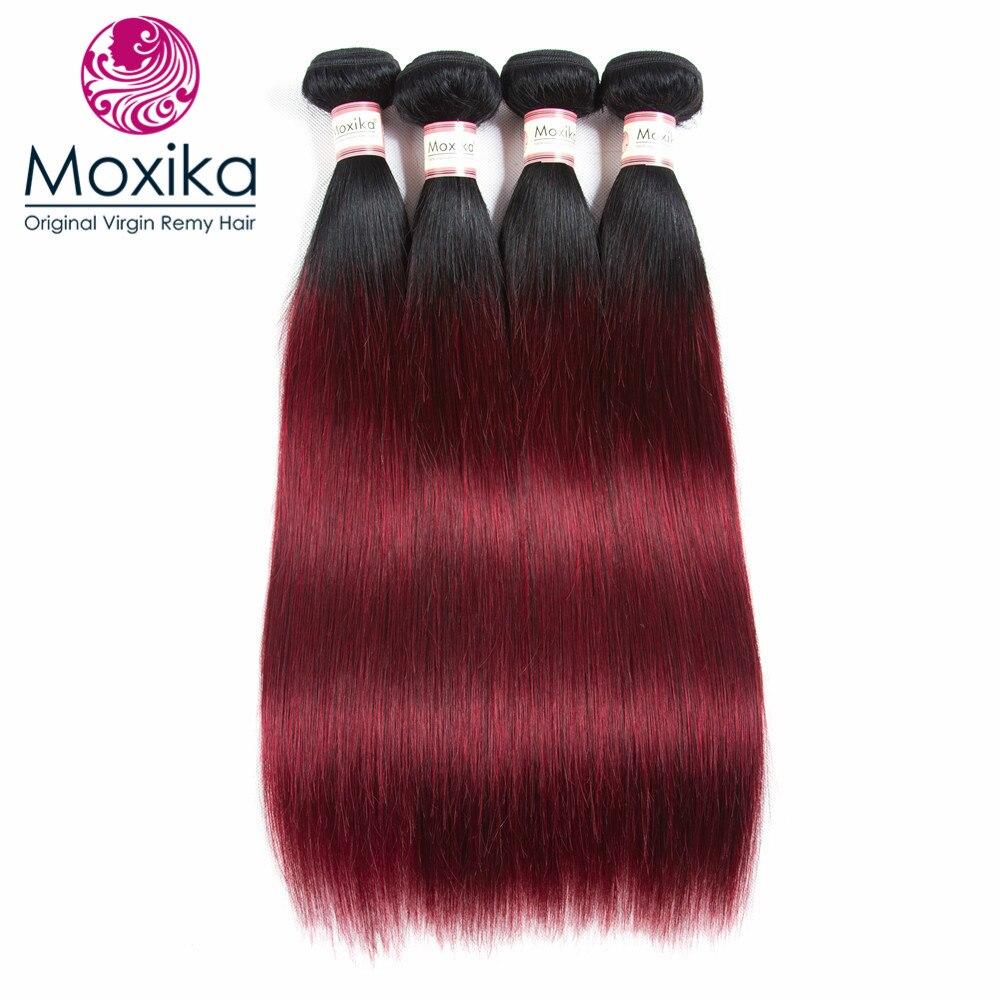Moxika Hair 1b 99j Brazilian Straight Human Hair 4 Bundles Remy Omber Two Tone Burgundy Hair