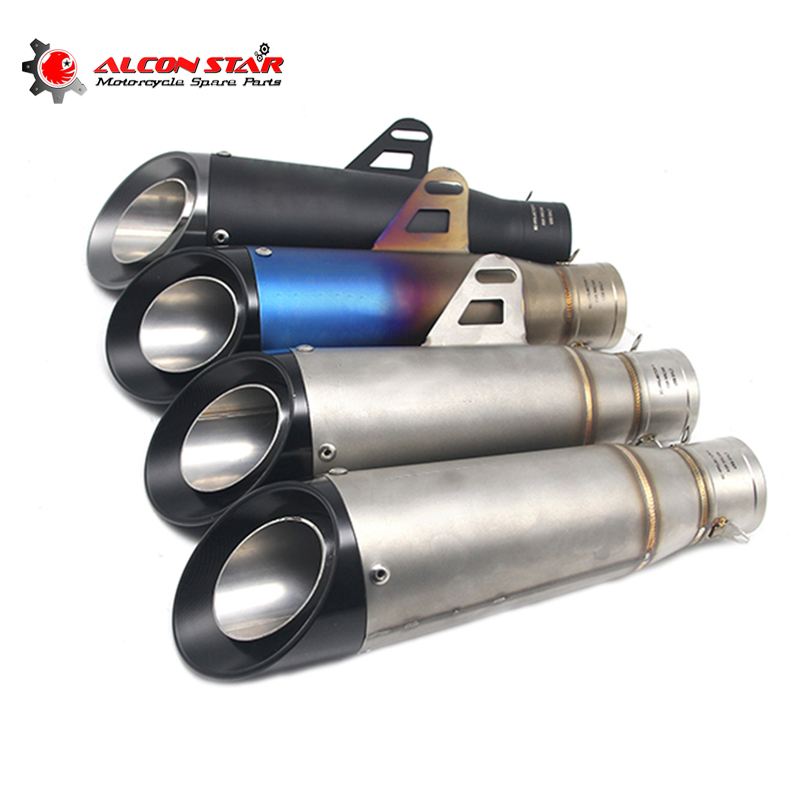 Alconstar- 51mm Inlet Motorcycle Scooter Motocross GP SC Exhaust Muffler Dirt Pit Bike Racing Exhaust Muffler Z800 Z900 MT09 CBR