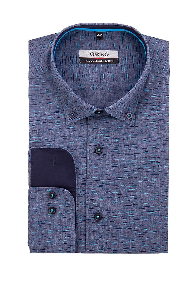 Shirt men's long sleeve GREG 323/319/2058/Z/B/1 Gray plus size bird and floral print v neck long sleeve t shirt