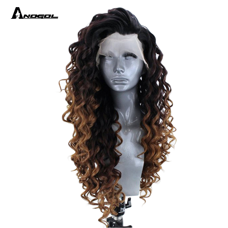 "Anogol 24"" Mahogany Brown Ombre Long Kinky Curly Free Part Synthetic Lace Front Wig For Black Women High Temperature Fiber"