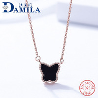S925 sterling silver butterfly pendant necklace for women red or black pendants necklace jewelry anniversary Engagment gift