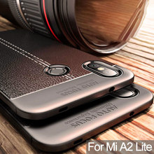 Luxury Soft TPU Silicone Phone Case For Xiaomi Mi A2 Lite 6X MiA2 Mi6X Leather Grained Litchi Pattern Shockproof Back Cover