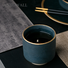 ANTOWALL European Style Marble Ceramic Drinkware Green Color Cup Gold Side Wine Tea Cup 250ml