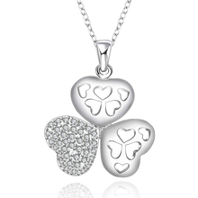 n544 925 sterling silver jewelry three leafage flower pendant necklace for women wedding fine fashion jewerly promotion